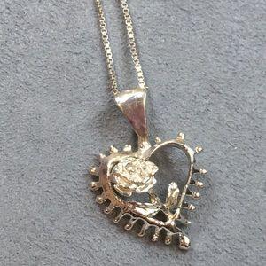 Vintage Sterling Silver Heart & Rose Necklace